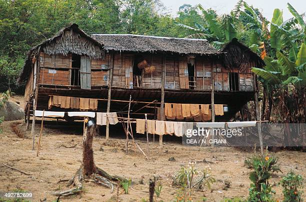 Typical houses of the Orang Asli Aboriginal population Cameron Highlands Penang island Malaysia