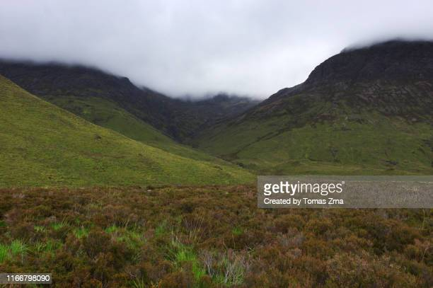 typical landscape in the wild valley of glen sligachan with surrounding peaks of the red hills - glen sligachan photos et images de collection