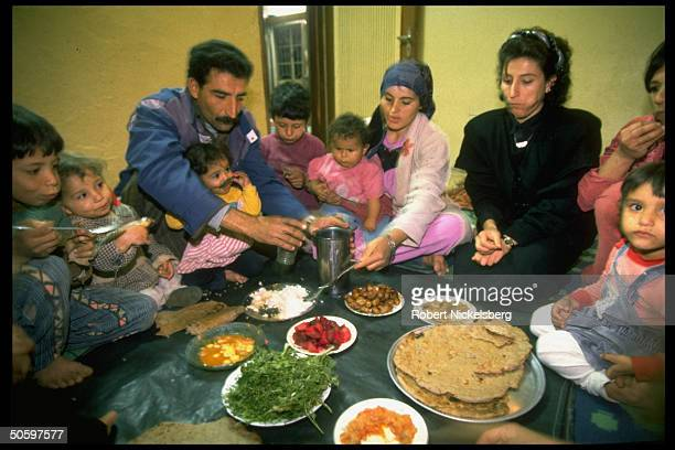Typical large family sitting down to meal at their govtgranted home shared by spanning generations of family re Gulf War sanctions economy