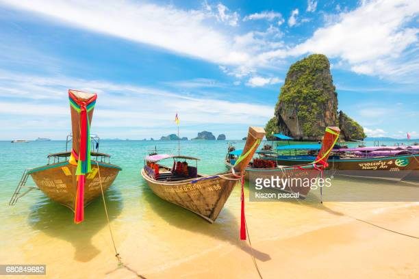 typical long tail boat in island of thailand - tailandia foto e immagini stock