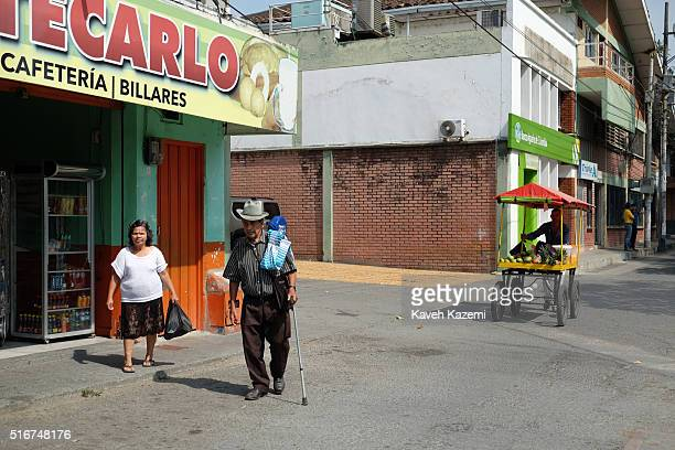 Typical man from coffee region walks on the street on January 21, 2016 in Ansermanuevo, Colombia. Ansermanuevo is a town and municipality located in...