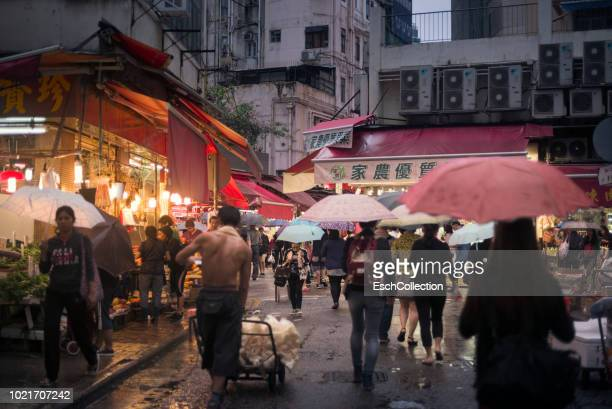 Typical market street at Wan Chai, Hong Kong