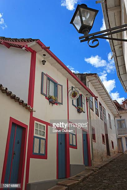 typical narrow alleyway in ouro preto - preto stock pictures, royalty-free photos & images