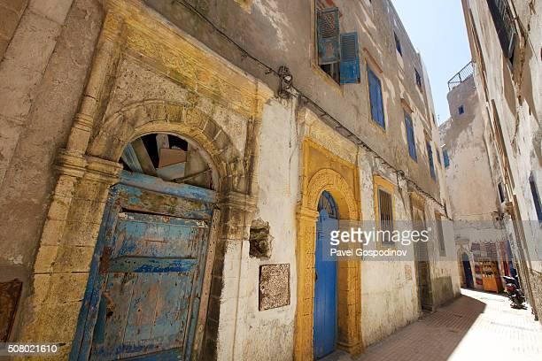Typical narrow street in the Essaouira medina in Morocco