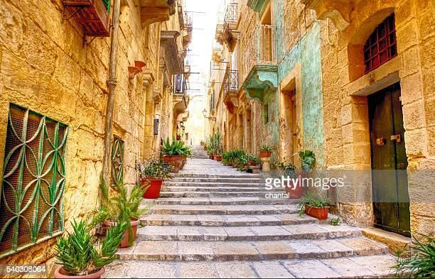 typical narrow street with stairs - malta fotografías e imágenes de stock