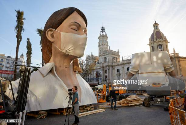 "Typical ""ninot"", of Las Fallas festival is displayed in Valencia on March 11, 2020 after the Fallas festival was cancelled due to COVID-19 infections..."