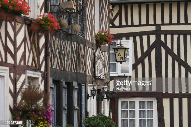 A typical Normandy style house facades seen in BeuvronenAuge On Friday August 2 in Caen Normandy France
