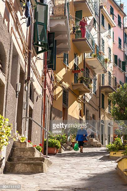 Typical old Italian street scene in Riomaggiore.