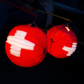 typical paper lantern on swiss national holiday at 1 august
