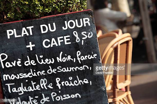 Typical Paris restaurant menu board outdoors