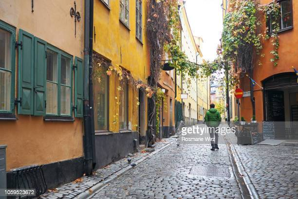 typical paved street in stockholm old town - estocolmo fotografías e imágenes de stock