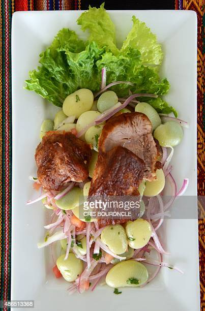 A typical Peruvian dish on display in a food fair promoting typical cuisine serves a dessert on September 4 2015 in Lima The Peruvian cuisine has...