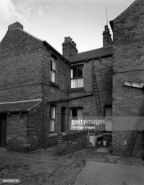 Typical pit housing in Furlong Road Bolton upon Dearne South Yorkshire 1963 The rear of a property in Furlong Road in Bolton upon Dearne close to...
