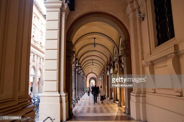 """typical portico in the streets of bologna, italy. - """"martine doucet"""" or martinedoucet stock pictures, royalty-free photos & images"""