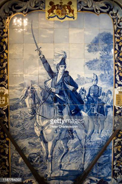 Typical Portuguese fresco, made from traditional blue and white ceramic tiles, depicts a scene from the Napoleonic wars on a wall of the Bussaco...