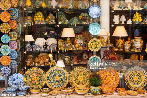 Typical pottery handmade in Sicily in a store in Taormina, Sicily, Italy