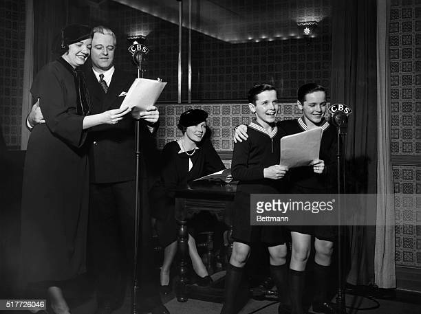 Typical radio studio of the 1920's The Little House Family being dramatized by Betty Garde Kenneth Daigneau and real life twins Bill and Bobbie Mauch...