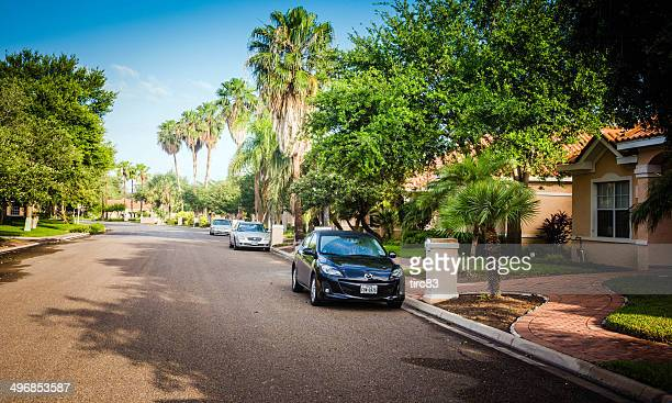 typical residential street in texas - mcallen texas stock pictures, royalty-free photos & images