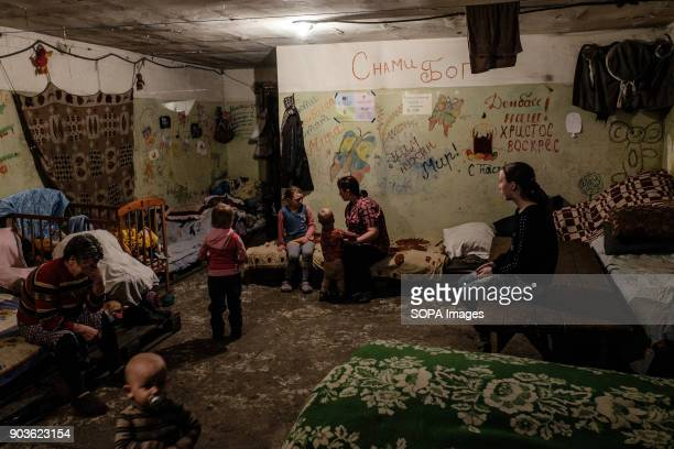 Typical room for a family in the bunker Here 7 people sleep and live in this room The grandmother on the left the mother and her five kids The father...