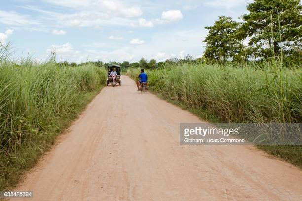 Typical rural scene on the Cambodia island of Koh Dach in the Mekong River Delta.