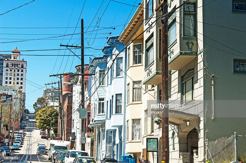 Typical San Francisco Residental Crowded Street And Overhead Wires ...