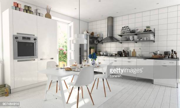 typical scandinavian kitchen interior - dining room stock pictures, royalty-free photos & images