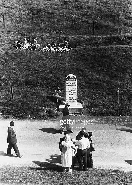 Typical Scene Spectators Waiting Cyclists At The Tour De France In France On July 11St 1953