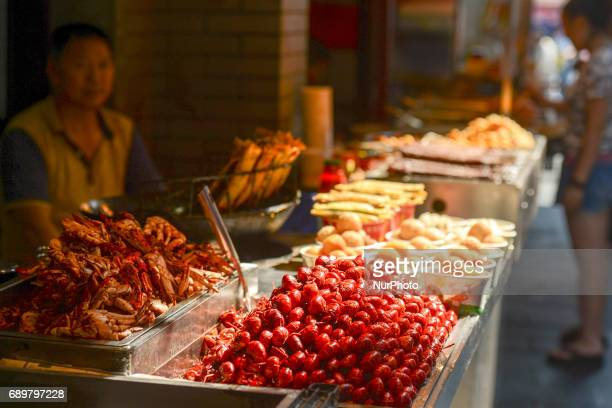 A typical seafood vendor seen in Flavor Street a local food street in Wuhan center On Monday September 14 2016 in Wuhan China in