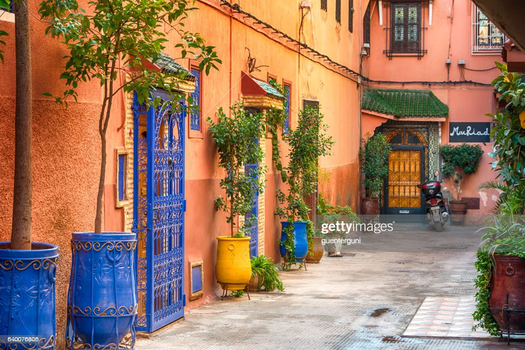 Typical small street in the Medina of Marrakech, Morocco : Stock Photo