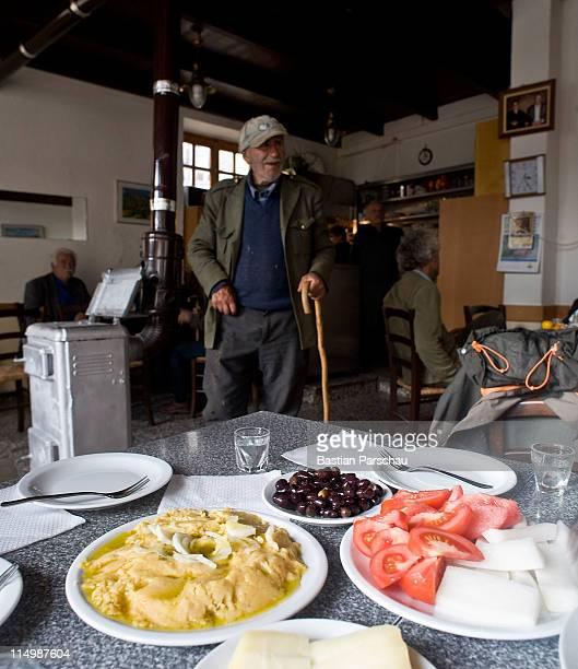 Typical snack always acompanies raki a Cretan spirit on December 19 2010 in Heraklion Greece