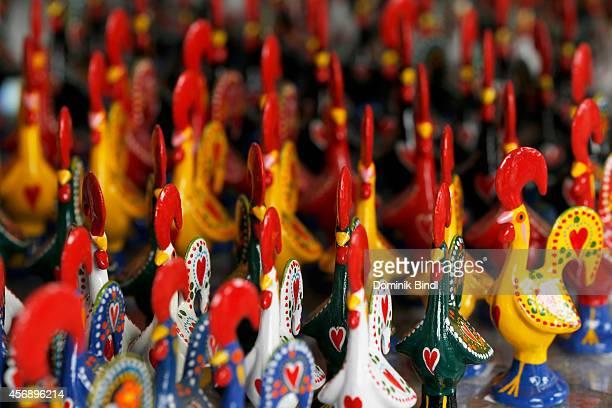 Typical souvenirs Galo de Barcelos on August 28 2014 in Lisbon Portugal