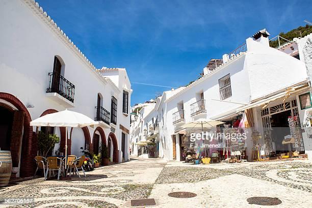 Typical street in Frigiliana, Malaga, Spain.