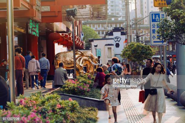 typical street in shanghai, china - gold rush imagens e fotografias de stock