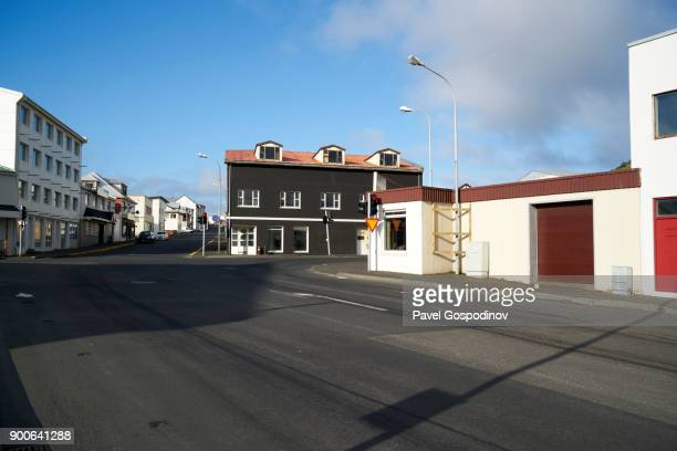 Typical street in Vestmannaeyjar (Heimaey town), Heimaey Island, Iceland