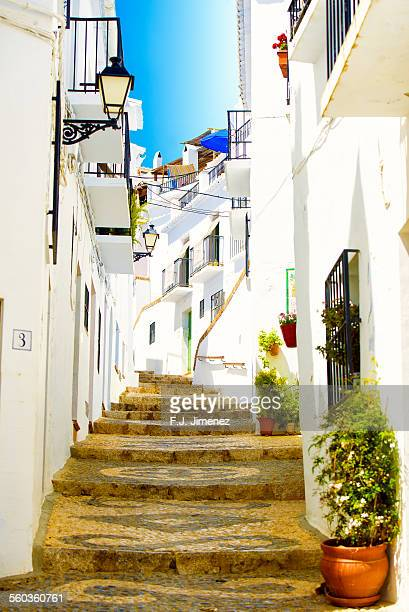 Typical street of Frigiliana white town of Malaga