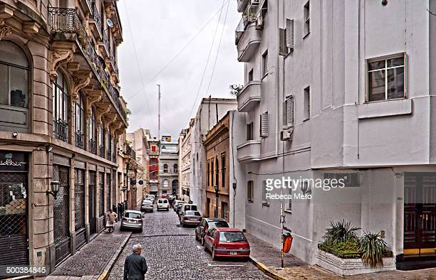 A typical street of San Telmo , Buenos Aires