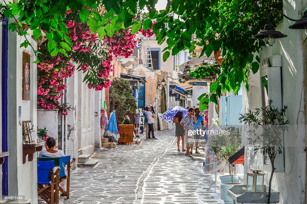Typical street scene on the Greek Isles : Stock Photo