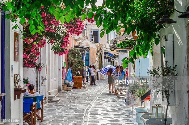 typical street scene on the greek isles - santorini stock pictures, royalty-free photos & images