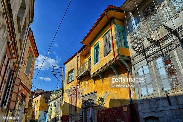 typical street view in old bergama - emreturanphoto stock pictures, royalty-free photos & images