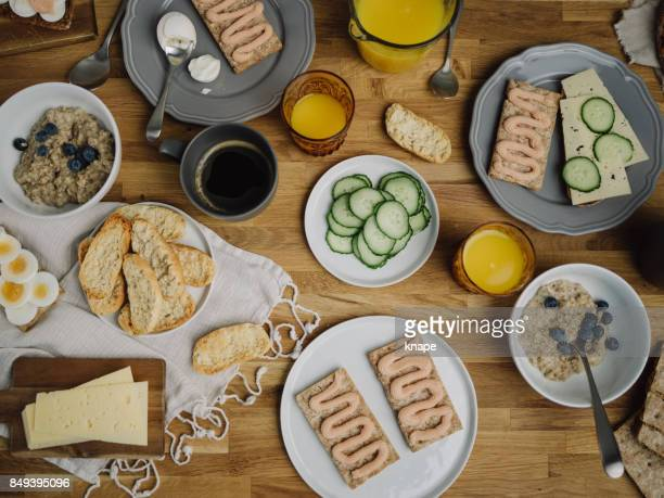 Typical swedish breakfast with knäckebröd and kaviar
