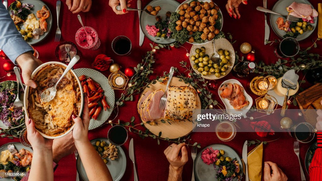 Typical swedish scandinavian christmas food smörgåsbord : Stock Photo