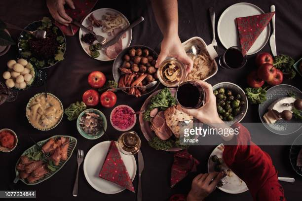 typical swedish scandinavian christmas smörgåsbord food - evening meal stock pictures, royalty-free photos & images