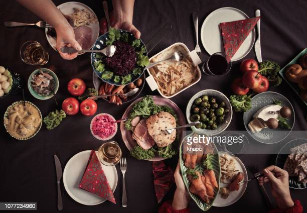 typical swedish scandinavian christmas smörgåsbord food - table stock pictures, royalty-free photos & images