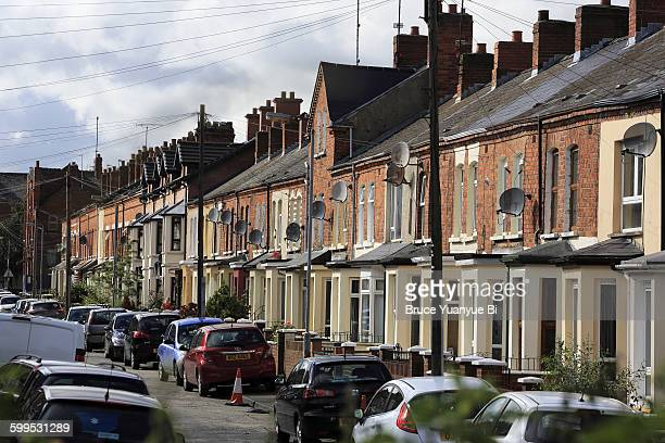 typical terrace houses in a residential block - belfast stock pictures, royalty-free photos & images