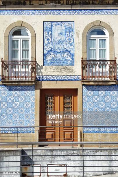 typical tiled facade in marques de pombal square in aveiro, portugal - aveiro district stock pictures, royalty-free photos & images