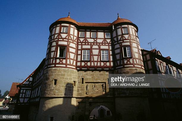 Typical timber frame building old town of Rothenburg ob der Tauber Bavaria Germany