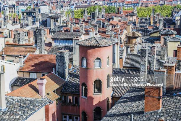 Typical tower and the roofs of the Vieux Lyon