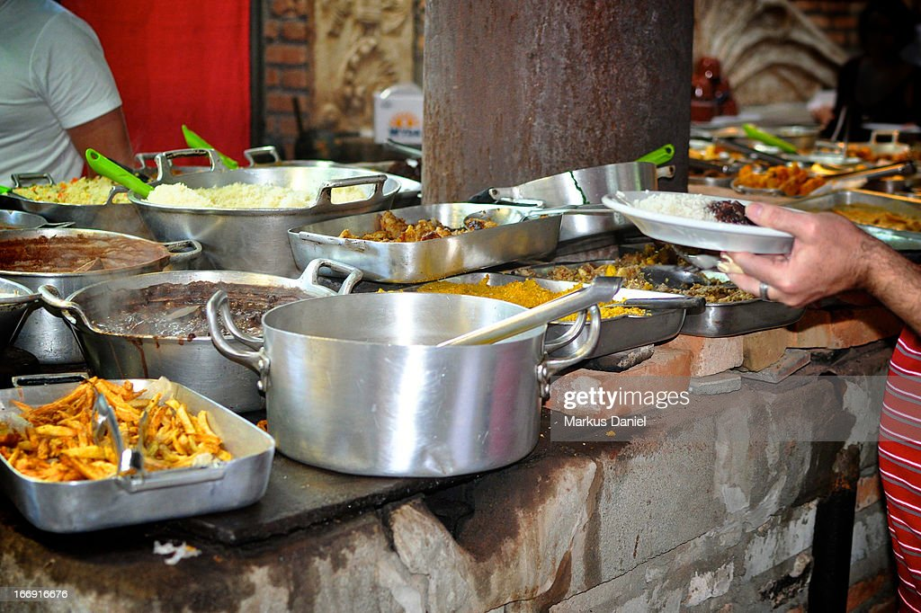 Typical Traditional Brazil Food Stove Oven Buffet : Stock Photo