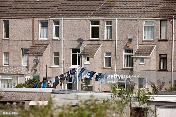 Typical UK municipal housing rear view