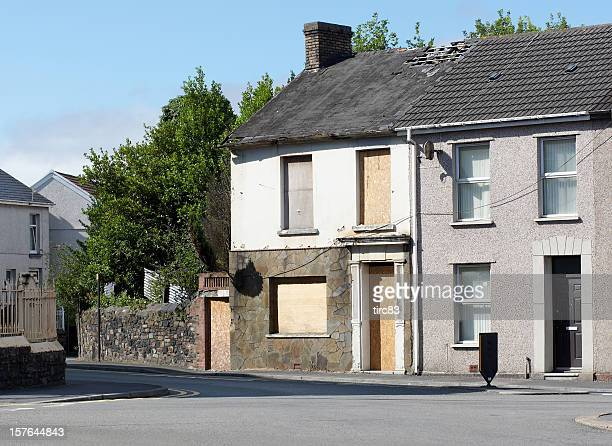 Typical UK terraced housing street derelict